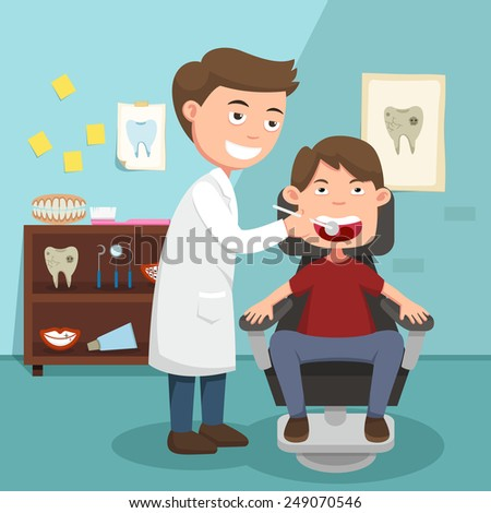 The idea of the doctor performing physical examination illustration, vector - stock vector