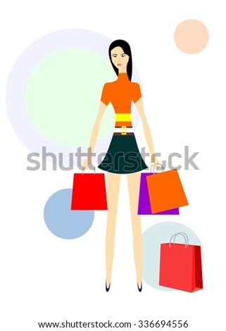 The illustration dedicated to a beautiful girl and shopping. - stock vector