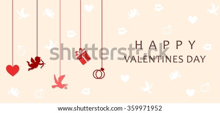 the illustration - greetings - on a theme of love and Valentines Day. - stock vector