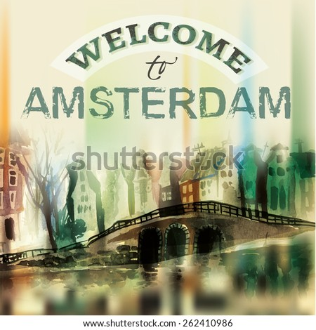 The illustration of  beautiful Amsterdam city hand drawn graphic. Vector image.