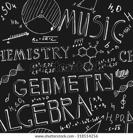 The illustration of beautiful black scientific background with chalk handwriting. Shcool class blackboard. Totally vector fully scalable image with white handwritten text. - stock vector