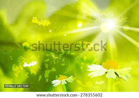 The illustration of  beautiful colorful wildflowers background. Creative and unique texturized graphic style. Natural and ecological concept. Totally vector image. - stock vector