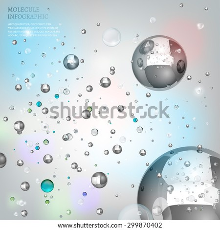 The illustration of beautiful molecular metallic particles flying in space. Vector image. Transparent scientific concept in light tones. - stock vector