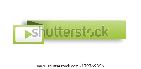 the illustration of blank  green rectangle label with arrow icon / the rectangular template with arrow / the empty label with shadow