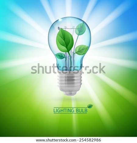 The illustration of ecological green lighting bulb. Vector image. - stock vector