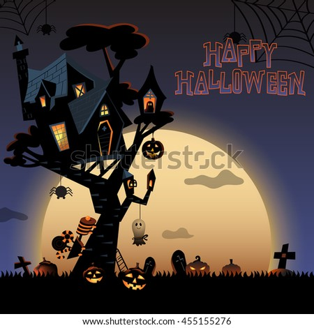 The illustration of Halloween night background with the haunted house on the tree and pumpkins in the bush. Train and ghost with candies for trick or treat. Spider spinning web and full moon behind.
