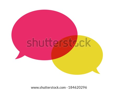 the illustration of pink and yellow overlapping speech bubbles / The pair of speech bubbles / Speech bubbles - stock vector
