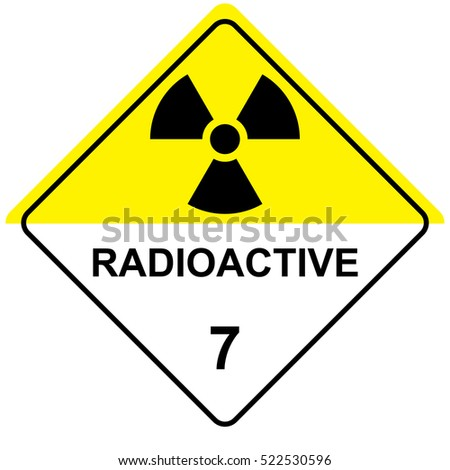 The illustration represents the symbol of radiation, product sign and radioactive debris. Ideal for catalogs of institutional materials
