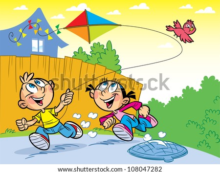 The illustration shows a boy and a girl on vacation in the countryside. They play and launch a kite.