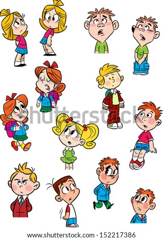 The illustration shows a few small children in various poses and with different emotions. Done in a cartoon style, on separate layers. - stock vector