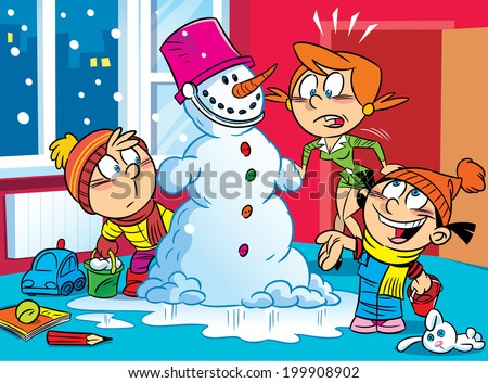 The illustration shows a humorous scene in the family. The children brought from the street to the apartment a snowman, they made my mother a surprise. Illustration done in cartoon style. - stock vector