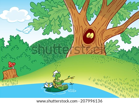 The illustration shows a pretty turtle, which catch fish in the pond, on the background of green forest. - stock vector