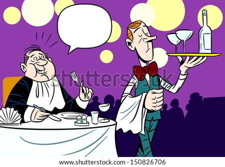 The illustration shows a scene in the restaurant customer service waiter. Illustration done in an amusing cartoon style, on separate layers. - stock vector