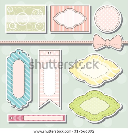 the illustration shows a set of tags - stock vector