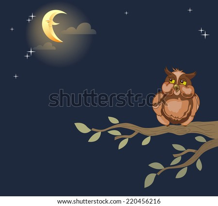 The illustration shows an owl that sits on a tree branch against the background the night sky.  Illustration done in cartoon style, on separate layers. - stock vector