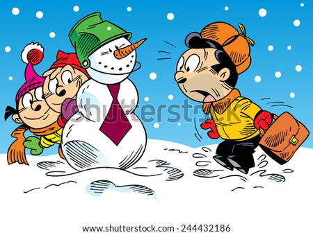 The illustration shows how the children with their parents have fun and relax in the winter holidays. Illustration done in cartoon style, on separate layers.  - stock vector