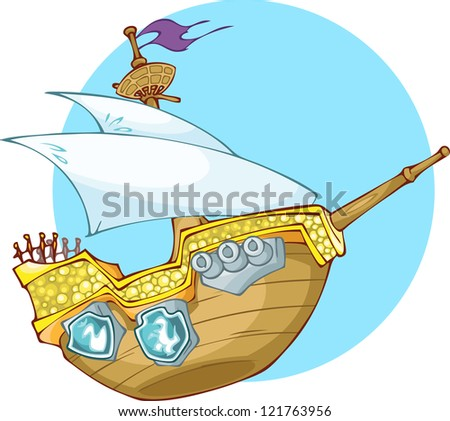 The Illustration  shows old woooden pirate's boat. Wooden ship have one mast and three cannons on the board. The illustration done in cartoon style. - stock vector