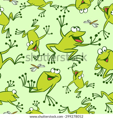 The illustration shows seamless pattern with funny cartoon frogs. Made in a vector on separate layers.