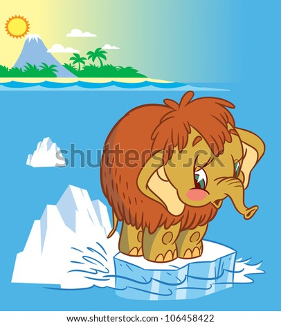 The illustration shows the baby mammoth. It stands on an ice floe in the middle of the ocean. Illustration done in cartoon style - stock vector