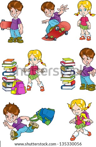 The illustration shows the characters of schoolchild, it's a boy and a girl. The boy board for skateboard and school bag. Girl with a briefcase near a pile of books.