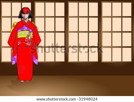 The image of the girl in anime-stylistics in traditional Japanese clothes - stock vector