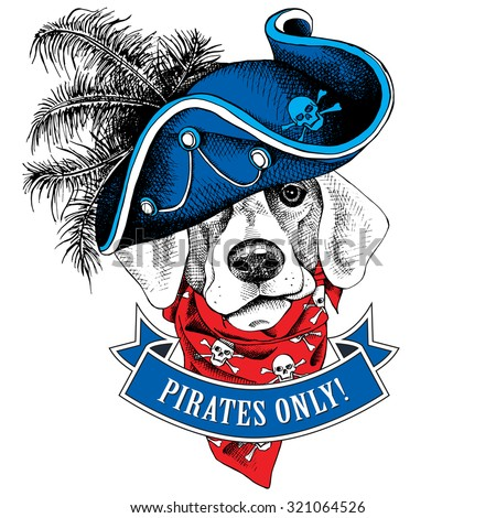 The image portrait of the dog wearing a pirates hat and the neckerchief with the images a skull. Vector illustration. - stock vector