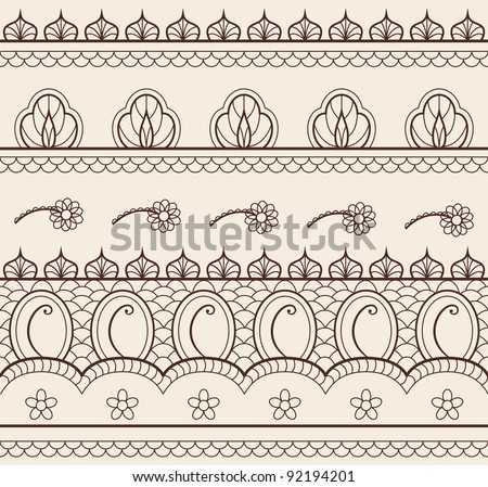 The indian henna ornament seamless - stock vector