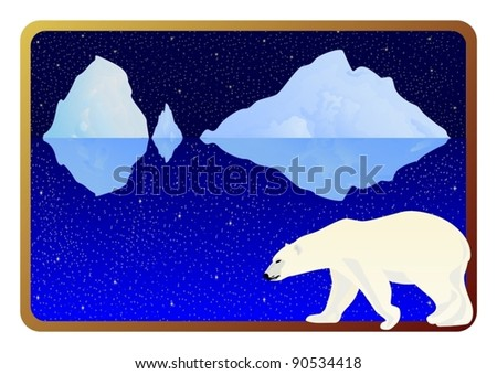 The inhabitants of the Arctic into the background frame to the ocean, icebergs and the night sky.