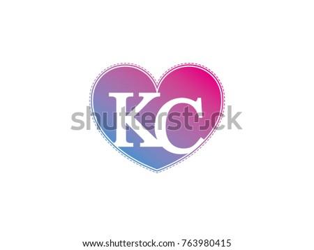 initial letter kc heart symbol logo stock vector 763980415