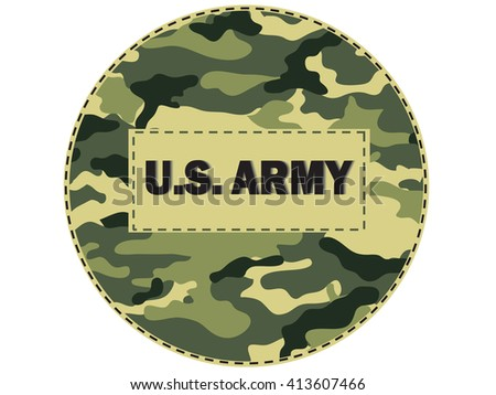 The inscription on camouflage Pattern U.S. Army