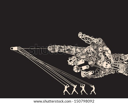 The instrument of wars are Man Made Machines. Handgun Hand Gesture. - stock vector