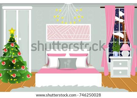 The Interior Of Bedroom Christmas Night Vector Cartoon