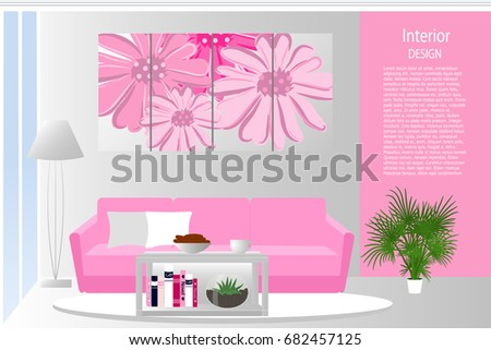 Interior Living Room Elegant Living Room Stock Vector 682457125 ...