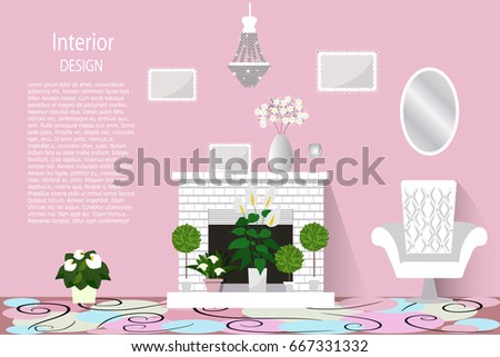 Interior Living Room Room Fireplace Lots Stock Vector 667331332 ...