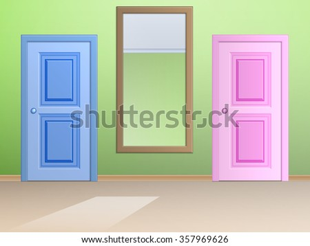 The interior with two doors and a wall mirror between them. - stock vector