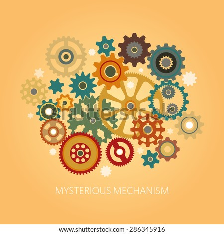 The intricate mechanism of cogwheels of various designs. The mechanism of the gears into flat style. Easily edited. - stock vector