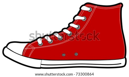 The isolated vector modern red sneakers, illustration - stock vector