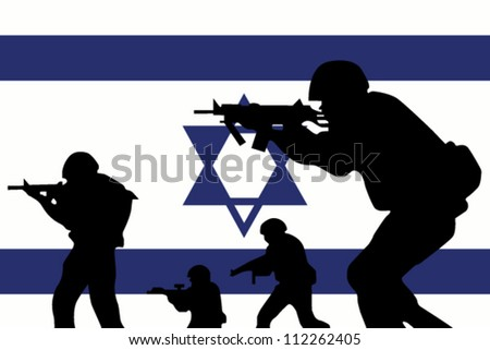 stock-vector-the-israel-flag-and-the-silhouette-of-a-soldiers-112262405