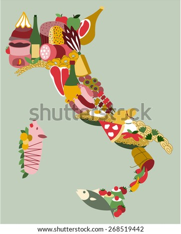 The Italian peninsula formed by a collage of the most popular foods and dishes of Italy's regions like panettone, parmesan, pizza, mozzarella, spaghetti, tortellini and many others - stock vector