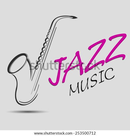 The jazz music vector illustration. Saxophone silhouette, may be used for brochure or logo design - stock vector