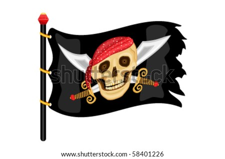 The Jolly Roger - pirate flag waving in the wind. Vector file saved as EPS AI8, all elements layered and grouped.