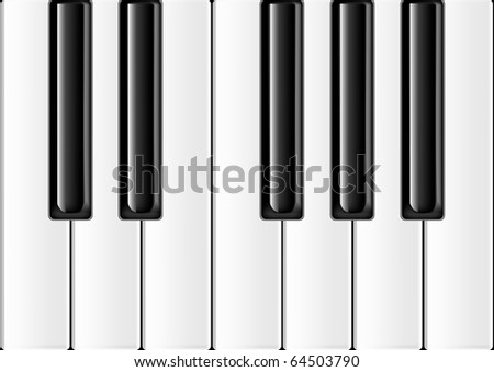 The keyboard of the classical piano in an octave range - stock vector