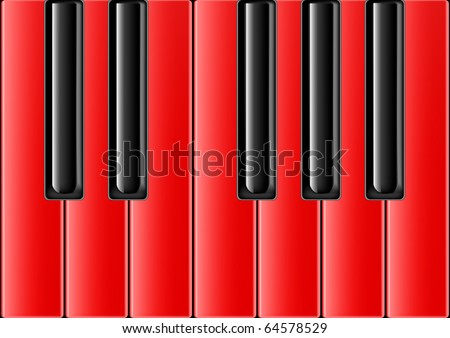 The keyboard of the classical piano with red keys - stock vector