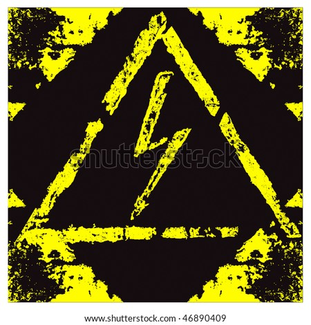 The label High Voltage with elements of rust. - stock vector