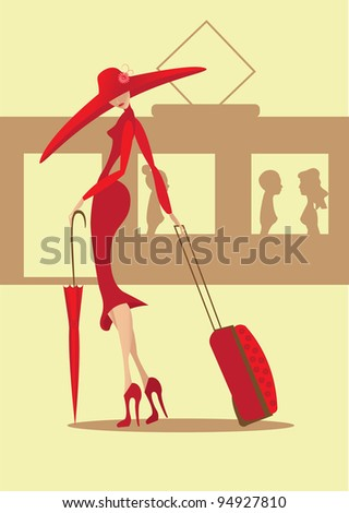 The lady in a red dress with a suitcase and an umbrella goes to a train - stock vector