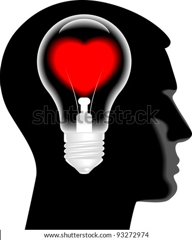 the lamp in the form of hearts in the silhouette of his head - stock vector