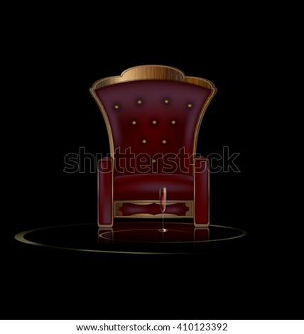 the large armchair in the dark room with glass of wine - stock vector