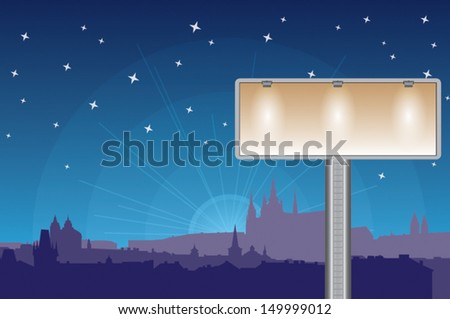 The large blank billboard with 3 spot lights over capital Prague. The panorama silhouette of Prague Castle during sunset on background. White stars shining on the night sky. Ready to place text.  - stock vector