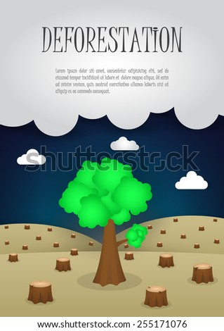 The last remaining trees in the forest, Nature issue deforestation concept, VECTOR, EPS10 - stock vector