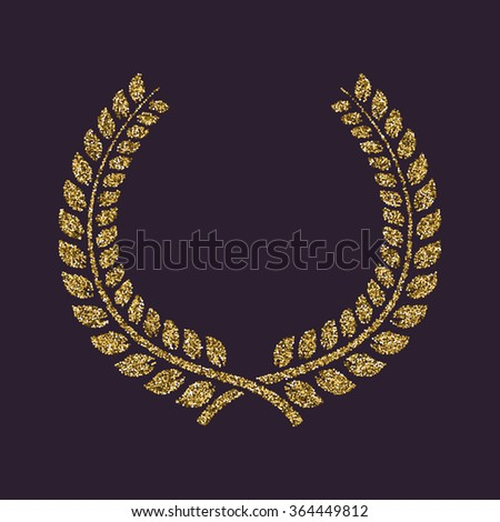 The laurel wreath icon. Prize and reward, honors symbol. Flat Vector illustration. Gold sparkles and glitter - stock vector